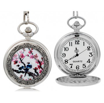 Orologio da tasca - movimento al quarzo - design Flower & Bird