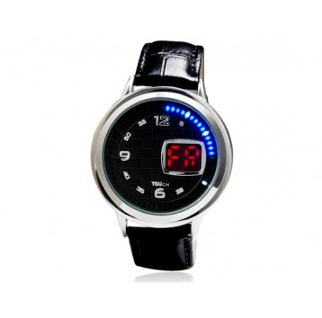 Orologio analogico led touch-screen multifunzionale - quadrante rotondo (nero)